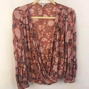 Lucky Brand Wrap Floral Top M Flutter Dusty Rose